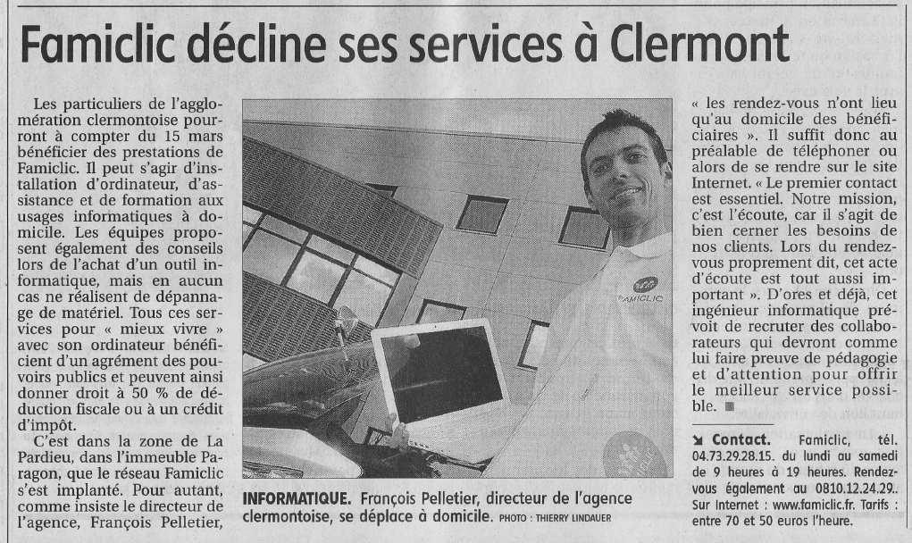 Famiclic dans l'édition La Montagne du 14 mars 2007